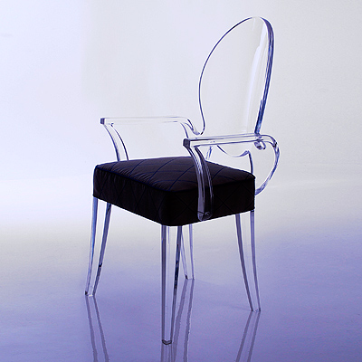 hstudio acrylic chair with seat hues cues