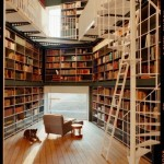 Home library with spiral staircase