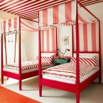 Twin beds red and white stripe bedroom