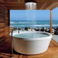 Outdoor rain shower in bathtub
