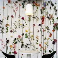 Floral curtain on kitchen wall