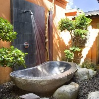 Outdoor stone tub bathroom