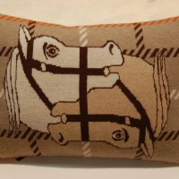 Wool pillow with horses, equestrian inspired decor