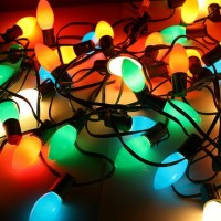 tangled up colorful christmas lights