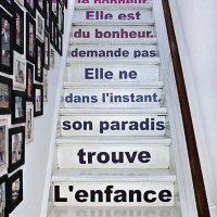 French writing painted on stairs